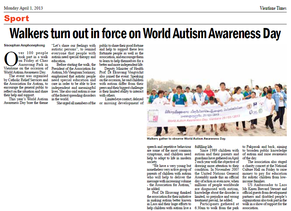 Walf for Autism Vientiane 2013